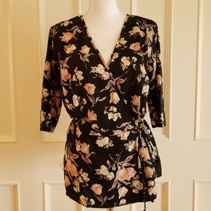 Sienna Sky Black Floral Faux Wrap Top